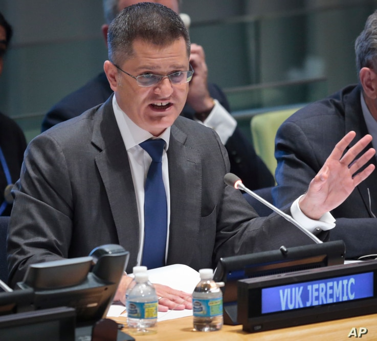 Former Serbian foreign minister Vuk Jeremic address questions from the 193-member General Assembly about his candidacy for U.N. Secretary-General, April 14, 2016 at U.N. headquarters.