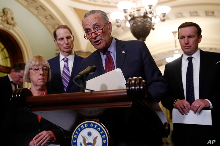 Senate Minority Leader Chuck Schumer of N.Y. speaks to members of the media following a Senate policy luncheon on Capitol Hill in Washington, April 2, 2019.