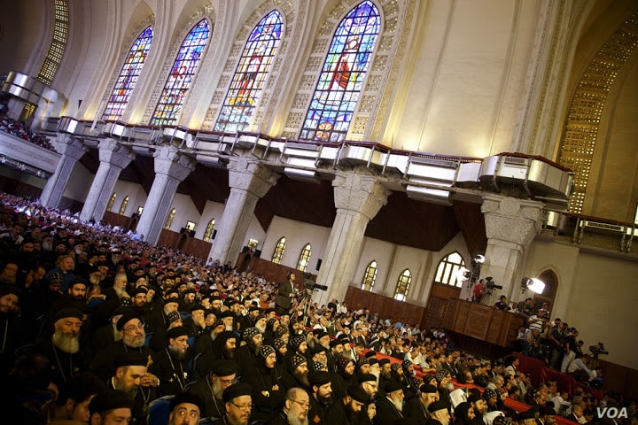The Egyptian Coptic church chose their new patriarch at Saint Mark's Coptic Orthodox Cathedral in Cairo, November 4, 2012. (Yuli Weeks/VOA)