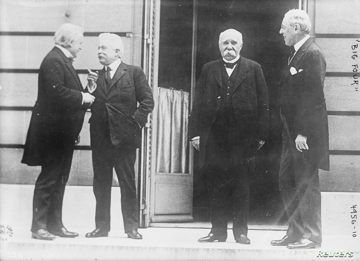 The Big Four Allied leaders of World War One, also known as the Council of Four, British Prime Minister David Lloyd George, Italian Premier Vittorio Emanuele Orlando, French Premier Georges Clemenceau and President Woodrow Wilson are seen in Versaill...