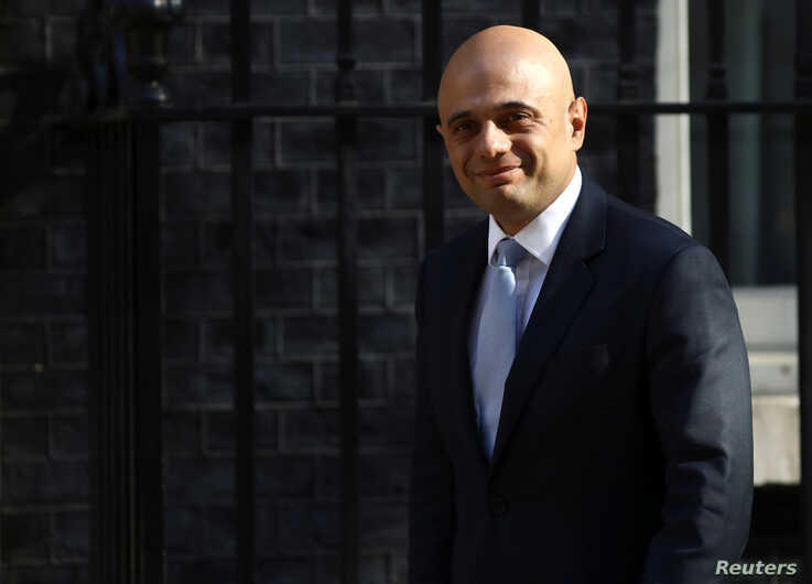Britain's Home Secretary Sajid Javid arrives in Downing Street in London, May 1, 2018.