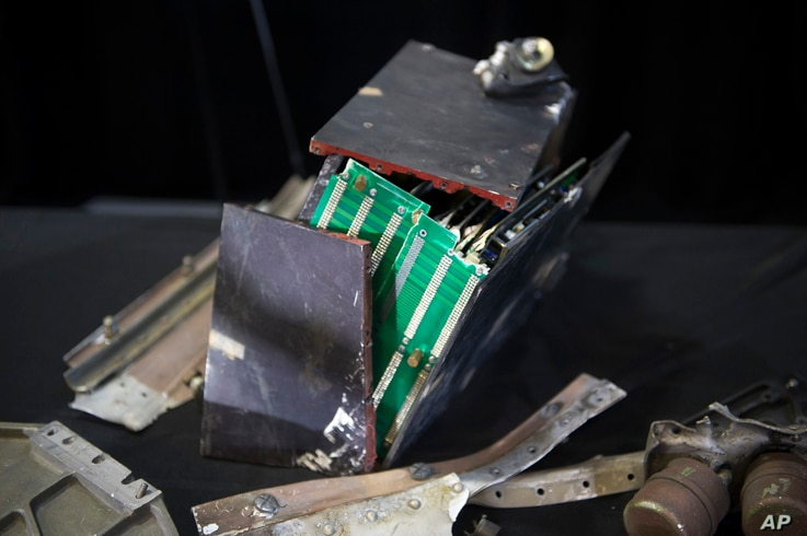 FILE - The remains of an Iranian rocket's Qiam guidance component which was fired by Yemen into Saudi Arabia, according to U.S. Ambassador to the U.N. Nikki Haley during a press briefing at Joint Base Anacostia-Bolling, Dec. 14, 2017, in Washington. ...
