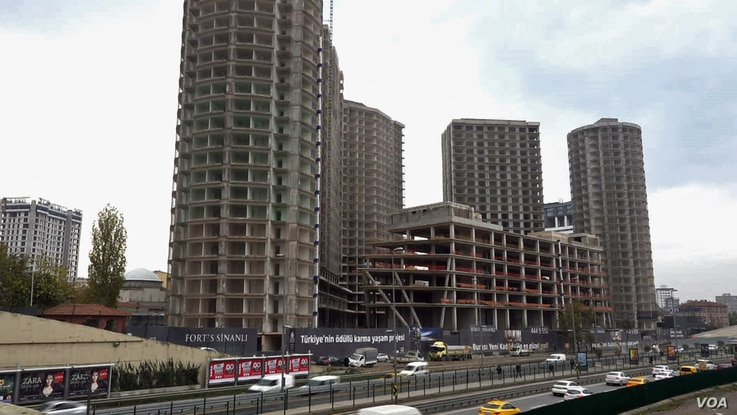 Istanbul Fikirtepe district was the centre of a major urban redevelopment for luxury apartments now much of project is dormant as the construction sector crisis bites.