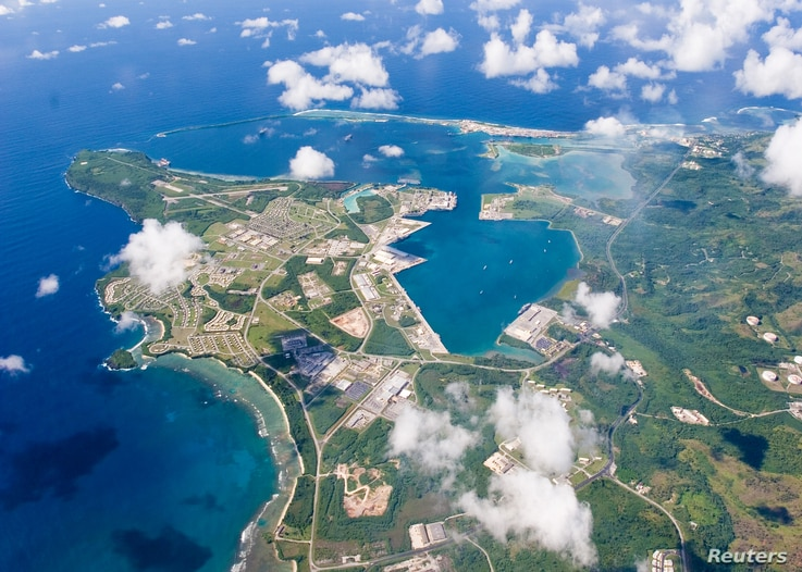 FILE - An aerial view of U.S. Naval Base Guam taken Sept. 20, 2006.