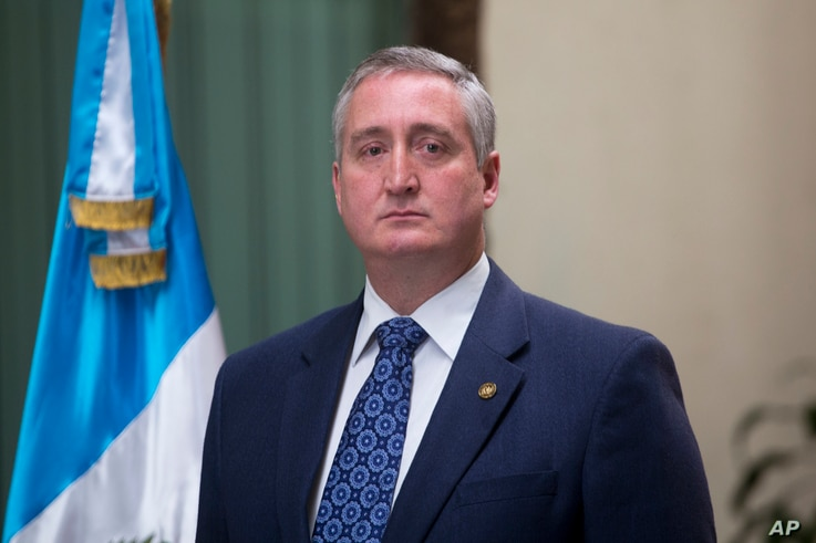 Interior Minister Enrique Degenhart gives a press conference in Guatemala City, Sept. 17, 2018.