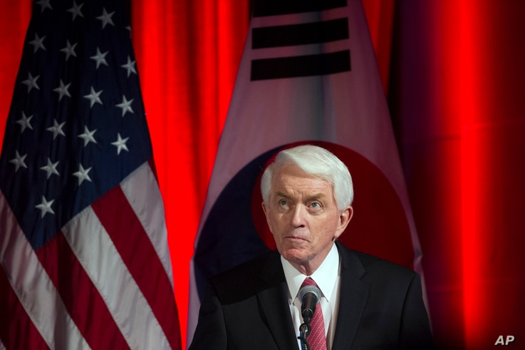 FILE - U.S. Chamber of Commerce President Thomas Donohue speaks at a dinner hosted by the U.S. Chamber of Commerce and the South Korean Chamber of Commerce for South Korean President Moon Jae-in, in Washington, June 28, 2017.