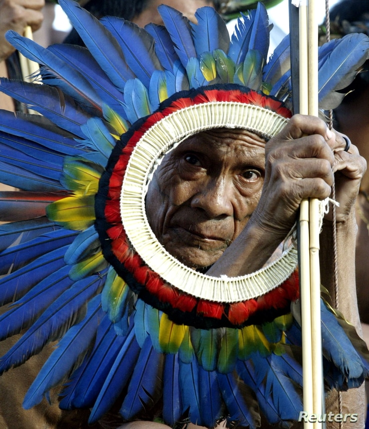An elderly member of Brazil's Surui Nation. Researchers found the Surui bear a genetic relationship to indigenous peoples of Australia and New Guinea.