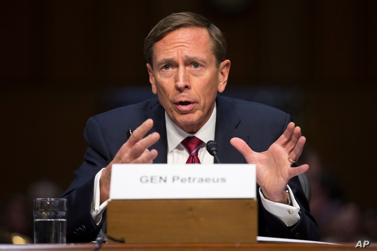 Former CIA Director David Petraeus testifies on Capitol Hill in Washington before the Senate Armed Services Committee hearing on Middle East policy, Sept. 22, 2015.