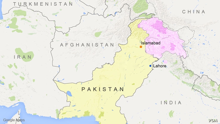Map showing the location of Lahore, Pakistan and Islamabad
