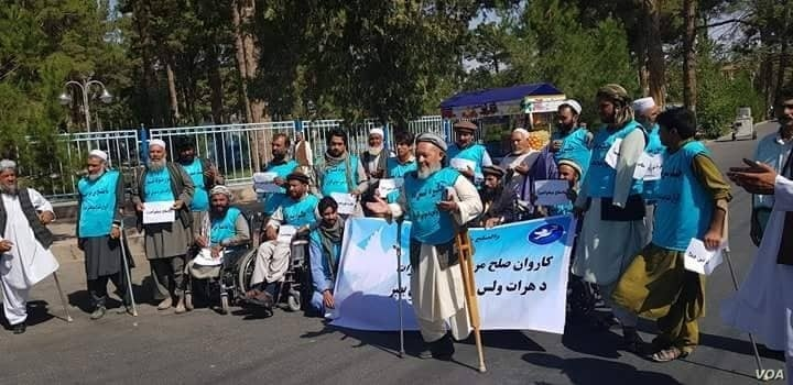 Afghanistan -- Herat, Peace marchers members starting their travel toward Kabul