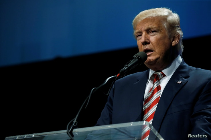 Republican presidential nominee Donald Trump delivers remarks at the Shale Insight energy conference in Pittsburgh, Pennsylvania, Sept. 22, 2016.