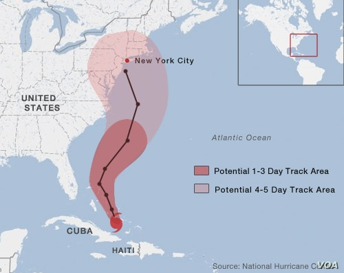 Projected path of Hurricane Sandy