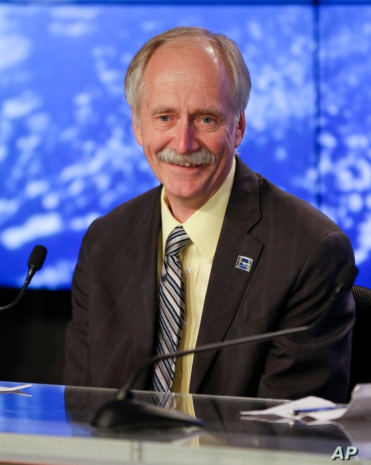 William Gerstenmaier, NASA's human exploration chief answers questions about the Orion test flight during a press conference at the Kennedy Space Center, Dec. 5, 2014, in Cape Canaveral, Florida.