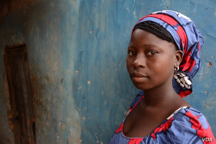 Saratu,19, managed to jump of the truck and escape the insurgents. (Katarina Höije/VOA)