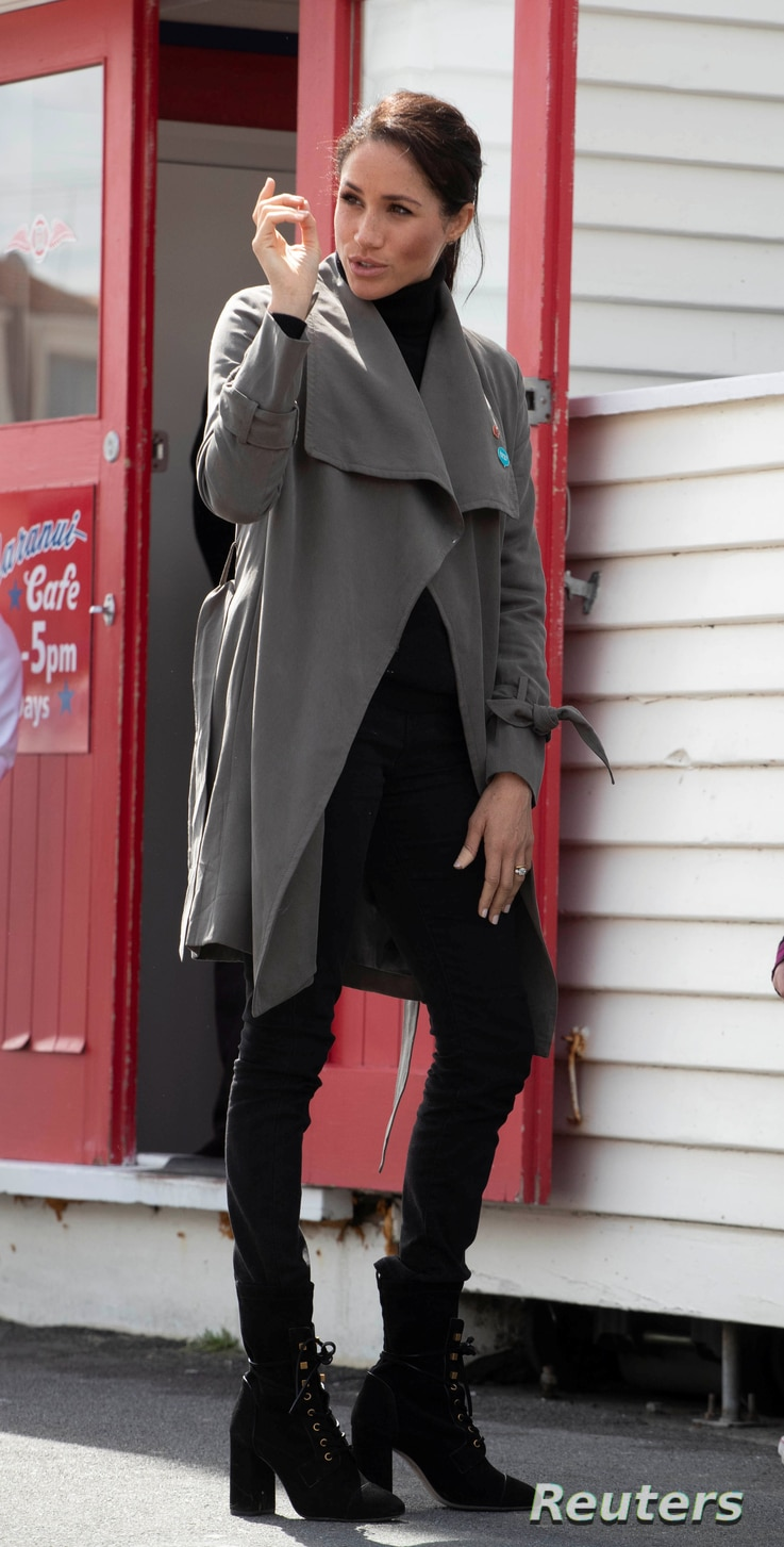 """Meghan Markle, the Duchess of Sussex, wearing """"slave-free"""" jeans, leaves after meeting young people from a number of mental health projects in New Zealand, in Wellington, New Zealand, Oct. 29, 2018."""