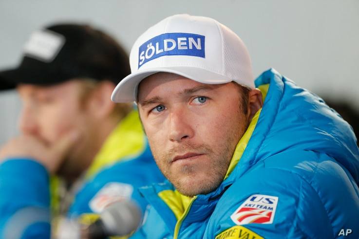FILE - In this Feb. 2, 2015, file photo, USA men's ski team member Bode Miller participates in a news conference at the alpine skiing world championships, in Beaver Creek, Colo.