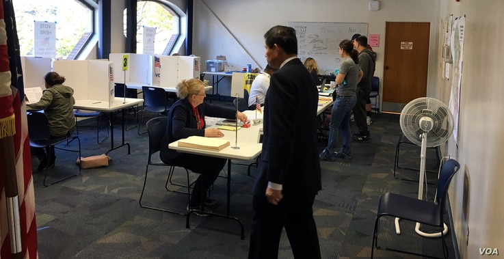 Residents vote early at a polling station in Fairfax, Virginia, Saturday, Nov. 3, 2018. (Photo by Diaa Bekheet)