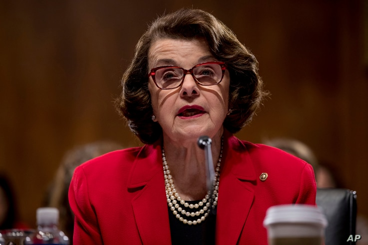 Sen. Dianne Feinstein, D-Calif. speaks on Capitol Hill, Jan. 31, 2017, during a meeting to discuss the nomination of Attorney General-designate Jeff Sessions.