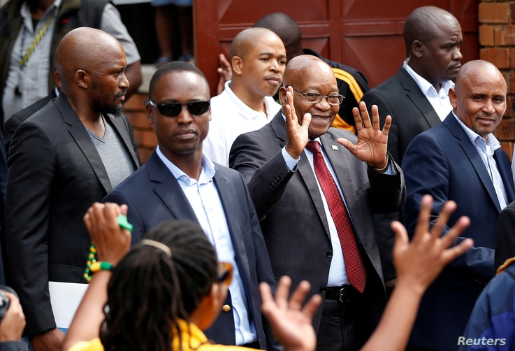 Jacob Zuma, former president of South Africa, waves to supporters outside the home of the late Winnie Mandela in Soweto, South Africa, April 4, 2018. Zuma appeared in court Friday to face corruption charges from the 1990s.