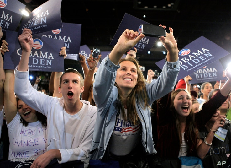 ** FILE ** In this Oct. 17, 2008 file photo, a group of young supporters cheering for Democratic presidential candidate Sen. Barack Obama, D-Ill. at a rally in Roanoke, Va. Young voters are poised to play a key role in choosing the next president. (A...
