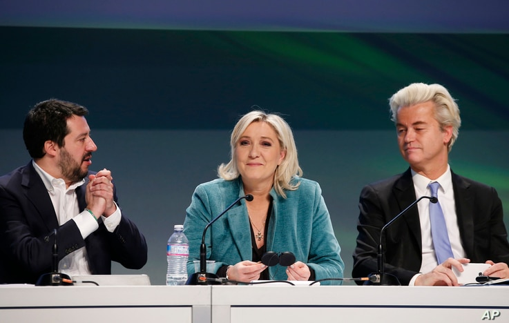 Northern League leader Matteo Salvini, French far right leader Marine Le Pen and Firebrand Dutch lawmaker Geert Wilders, right, attend a press conference during a convention of European nationalists, in Milan, Italy, Jan. 29 2016