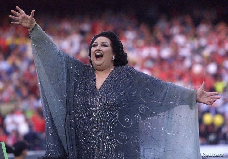 Soprano Montserrat Caballe sings before the European Cup Final in Barcelona's Nou Camp stadium, May 26, 1999.