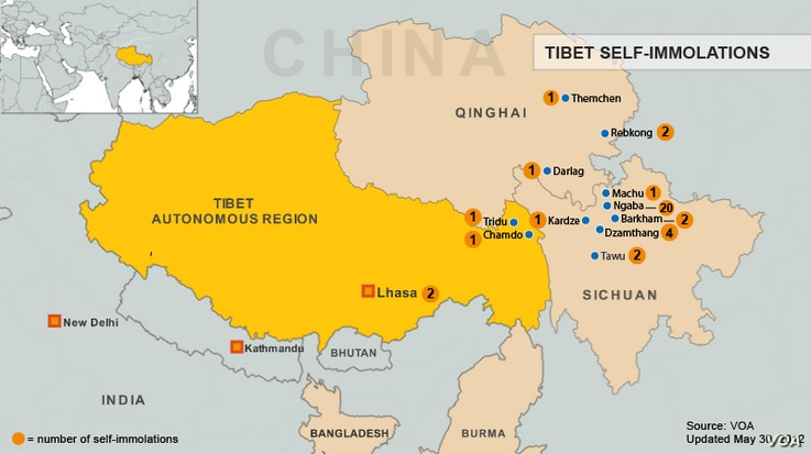 Tibet Immolation Map