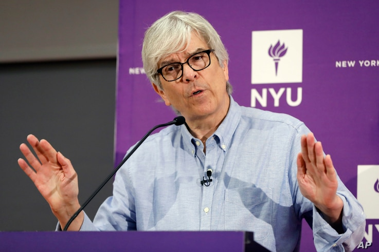 Paul Romer, co-winner of the 2018 Nobel Prize for Economics, speaks at a news conference at the Stern School of Business of New York University, in New York, Monday, Oct. 8, 2018.