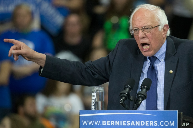 Democratic presidential candidate Sen. Bernie Sanders, I-Vt., speaks during an election night campaign event at the Big Sandy Superstore Arena, April 26, 2016, in Huntington, W.Va.