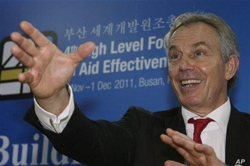 Former British Prime Minister Tony Blair at 4th High-Level Forum on Aid Effectiveness.  He expressed optimism about Africa's future, saying eight economies from sub-Saharan Africa have more than doubled in size.
