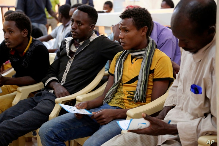Ethiopian migrants gather at the International Organization for Migration center in the port city of Aden, Yemen, Jan. 2, 2017.