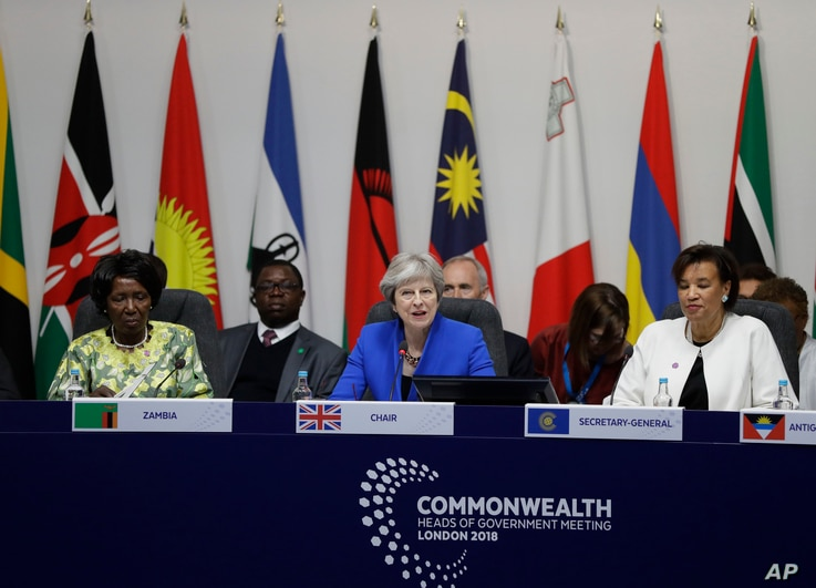 Britain's Prime Minister Theresa May chairs the first executive session of the CHOGM summit at Lancaster House in London, April 19, 2018.