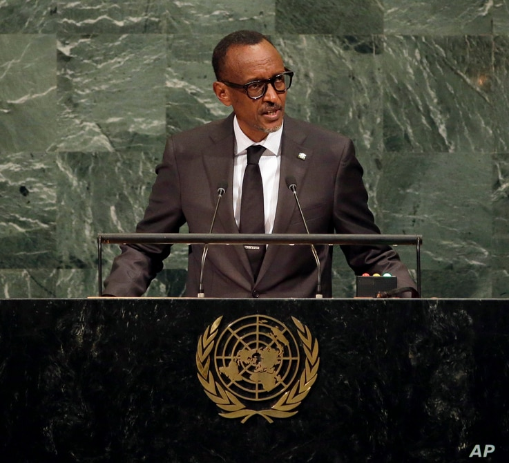 Paul Kagame, President of Rwanda, speaks during the United Nations General Assembly at U.N. headquarters, Sept. 20, 2017.