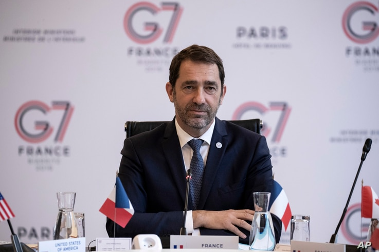 French Interior Minister Christophe Castaner chairs a G-7 meeting at ministerial level in Paris, April 4, 2019.