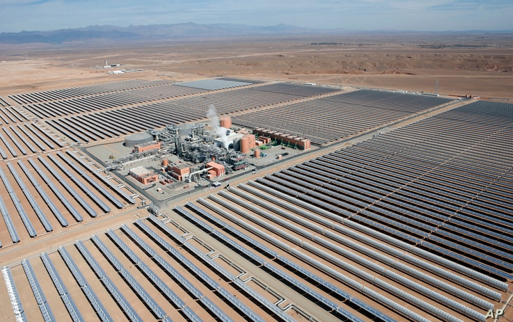 Aerial view of the Noor 1 solar plant in central Morocco, Feb.4, 2016.