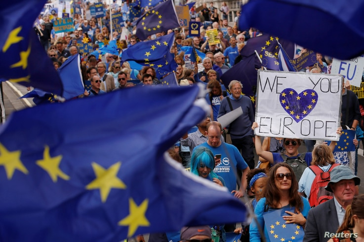 """Pro-Europe demonstrators protest during a """"March for Europe"""" against the Brexit vote result earlier in the year, in London, Sept. 3, 2016."""