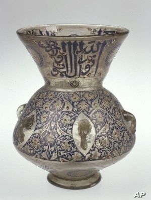 Egypt or Syria, Mosque Lamp, c. 1354–61, enameled and gilded glass