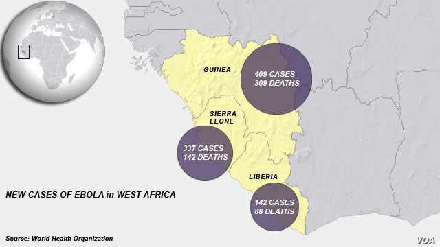 Ebola figures from Guinea, Sierra Leone and Liberia