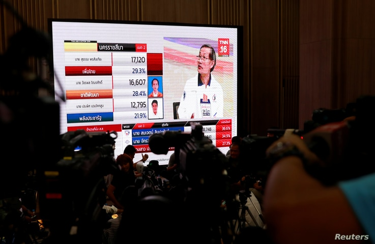 Reporters wait for the general election results in Bangkok, Thailand, March 24, 2019.