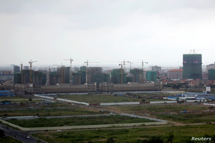 FILE - A construction site from the Boeung Kak Lake project in Phnom Penh, Cambodia, May 26, 2017.