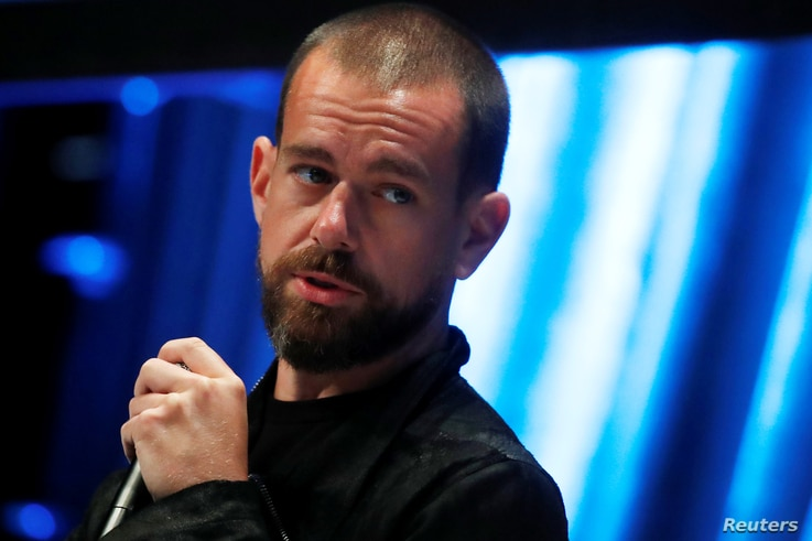 FILE - Jack Dorsey, CEO and co-founder of Twitter and founder and CEO of Square, speaks at the Consensus 2018 blockchain technology conference in New York City, New York, U.S., May 16, 2018.