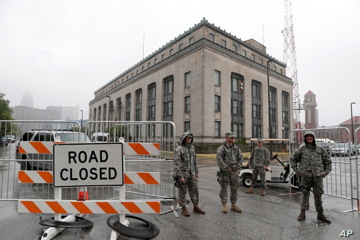 Army National Guard soldiers guard a communications facility, before the Republican National Convention, July 16, 2016 in Cleveland, Ohio.