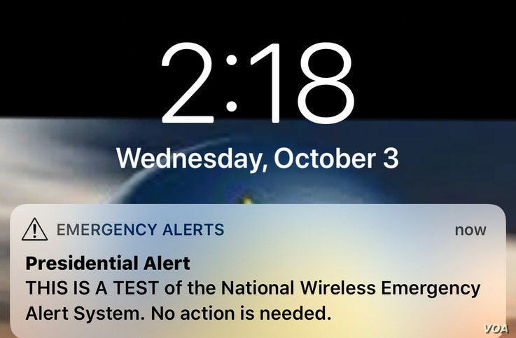 A mobile phone screenshot of the Emergency Alert sent by FEMA to all U.S. mobile users to test the National Wireless Emergency Alert System, Oct. 3, 2018. (Photo: Diaa Bekheet)