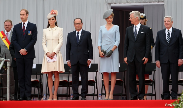 Britain's Prince William, his wife Catherine, French President Hollande, Queen Mathilde of Belgium, King Philippe of Belgium and German President Joachim Gauck attend a ceremony commemorating the 100th anniversary of the outbreak of World War I (WWI)...