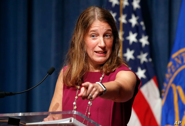 FILE -  Health and Human Services Secretary Sylvia Burwell speaks during a news conference at the HHS in Washington, Oct. 19, 2016. The Obama administration says 6.4 million people have signed up so far this year for subsidized private insurance cove...
