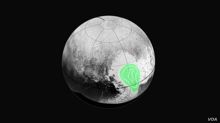 """Peering closely at the """"heart of Pluto,"""" New Horizons' Ralph instrument revealed evidence of carbon monoxide ice. The contours indicate that the concentration of frozen carbon monoxide increases towards the center of the """"bull's eye."""""""
