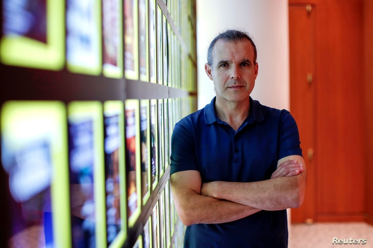 National Geographic Society explorer-in residence Enric Sala poses inside the Society's headquarters in Washington, D.C.,  Sept. 17, 2018.