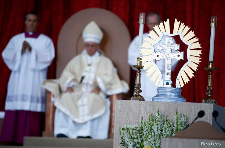 Pope Francis presides over a Canonization Mass for Friar Junipero Serra at the Basilica of the National Shrine of the Immaculate Conception in Washington, Sept. 23, 2015.