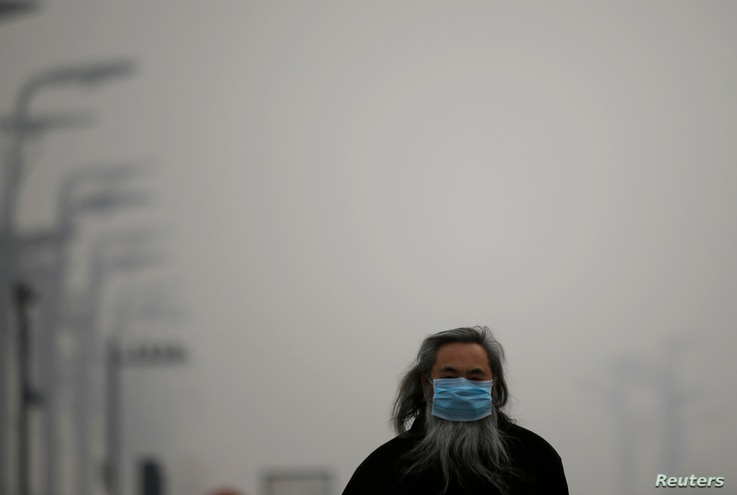 A man wearing a mask makes his way amid thick haze in Beijing February 25, 2014.  A Chinese man in the smoggy northern city of Shijiazhuang, capital of Hebei province, has become the first person in the country to sue the government for failing to cu...