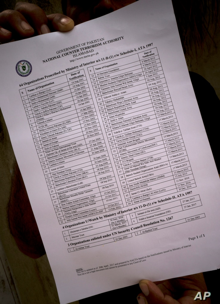 A Pakistani official shows a list of banned organizations, issued by the National Counter Terrorism Authority (NACTA), in Islamabad, Pakistan, May 31, 2017.